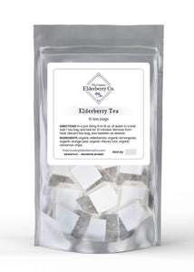 Elderberry tea made with organic ingredients. caffeine free and preservative free. organic orange peel, organic, elderberries, organic chicory root, organic lemongrass. Made in Michigan.