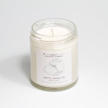 JaxKelly White Howlite Crystal Candle
