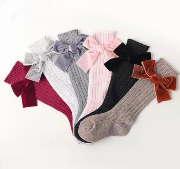 Knee High Socks Velvet Bow~ Ready to Ship