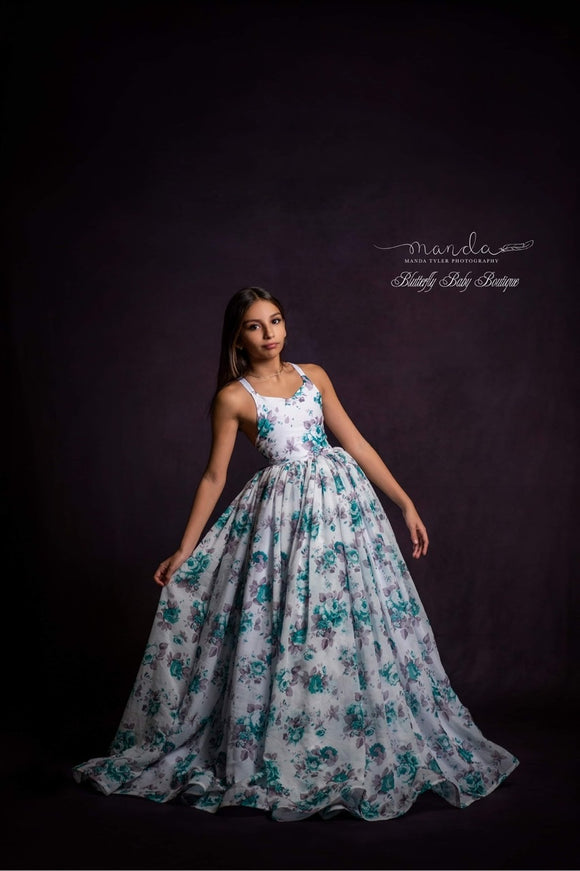 Teal Roses Couture Rental