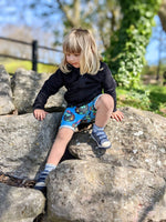 Blue dino egg kids cycle shorts