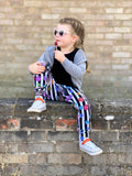 Skull and stripes kids leggings
