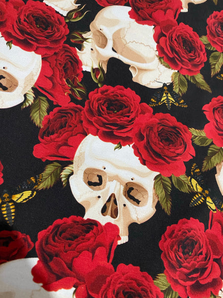 Adult twirly skirt skull and roses