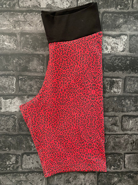 Adults red leopard shorts