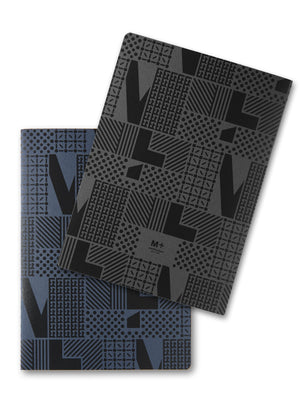 Cover of blue and black M+ Core Notebook