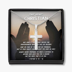 Take Heart, Christian! - Cross Necklace - SDG Clothing
