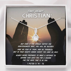 Take Heart, Christian! - Ribbon Necklace - SDG Clothing