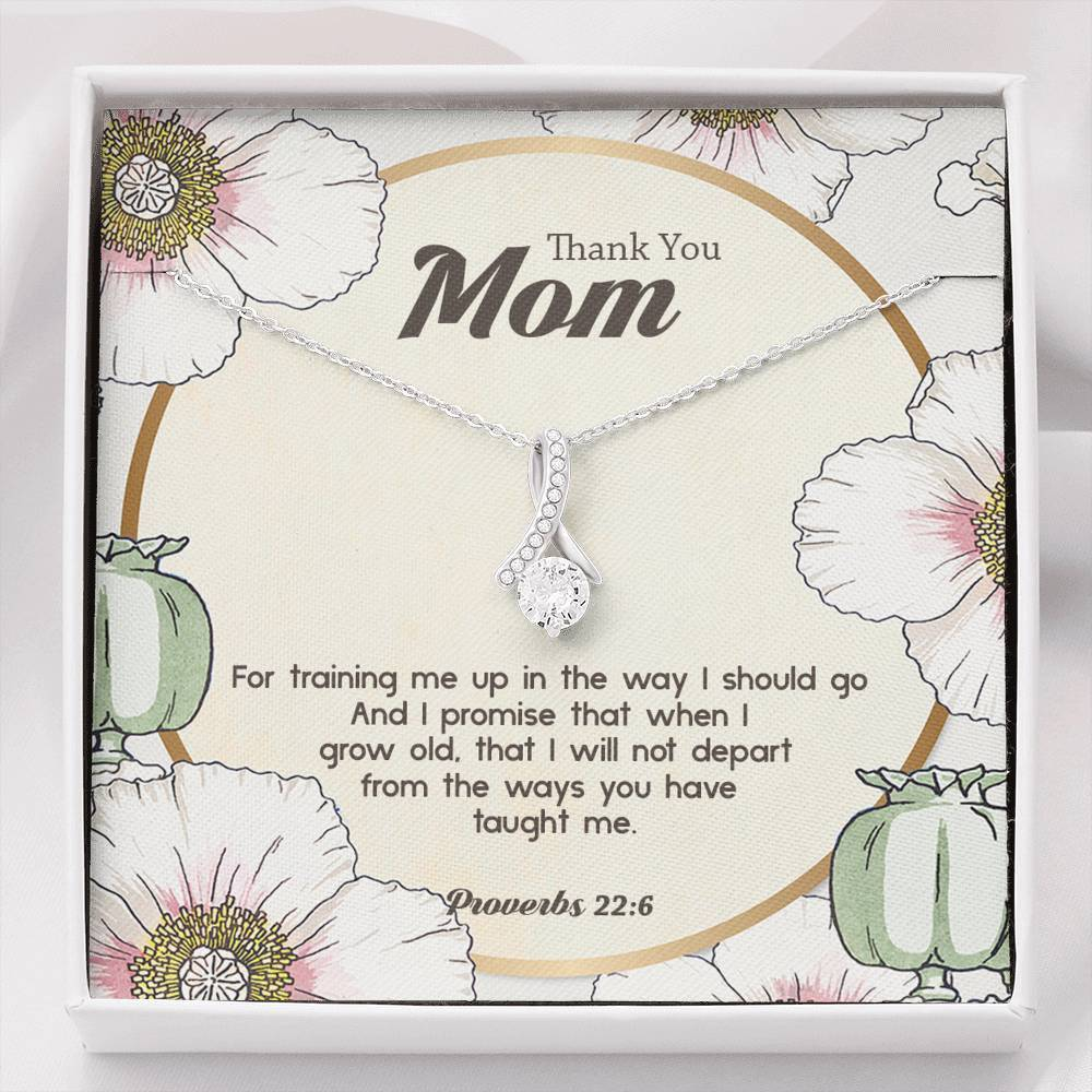 Thank You Mom (Proverbs 22) - Ribbon Necklace - SDG Clothing