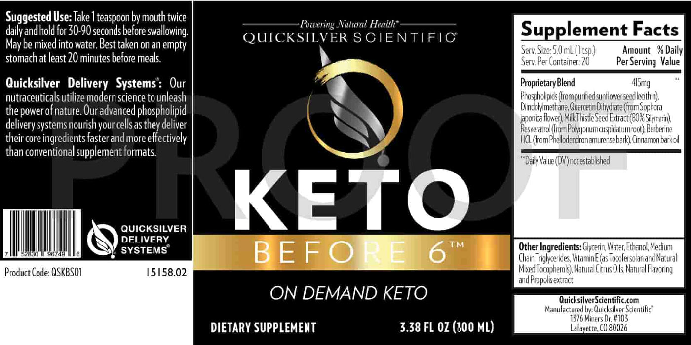 Quicksilver Scientific Keto Before 6 ingredients