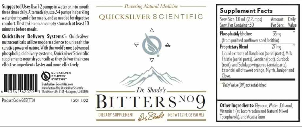 Quicksilver Scientific Dr. Shade's Bitters #9
