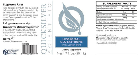 Quicksilver Scientific Liposomal Glutathione ingredients