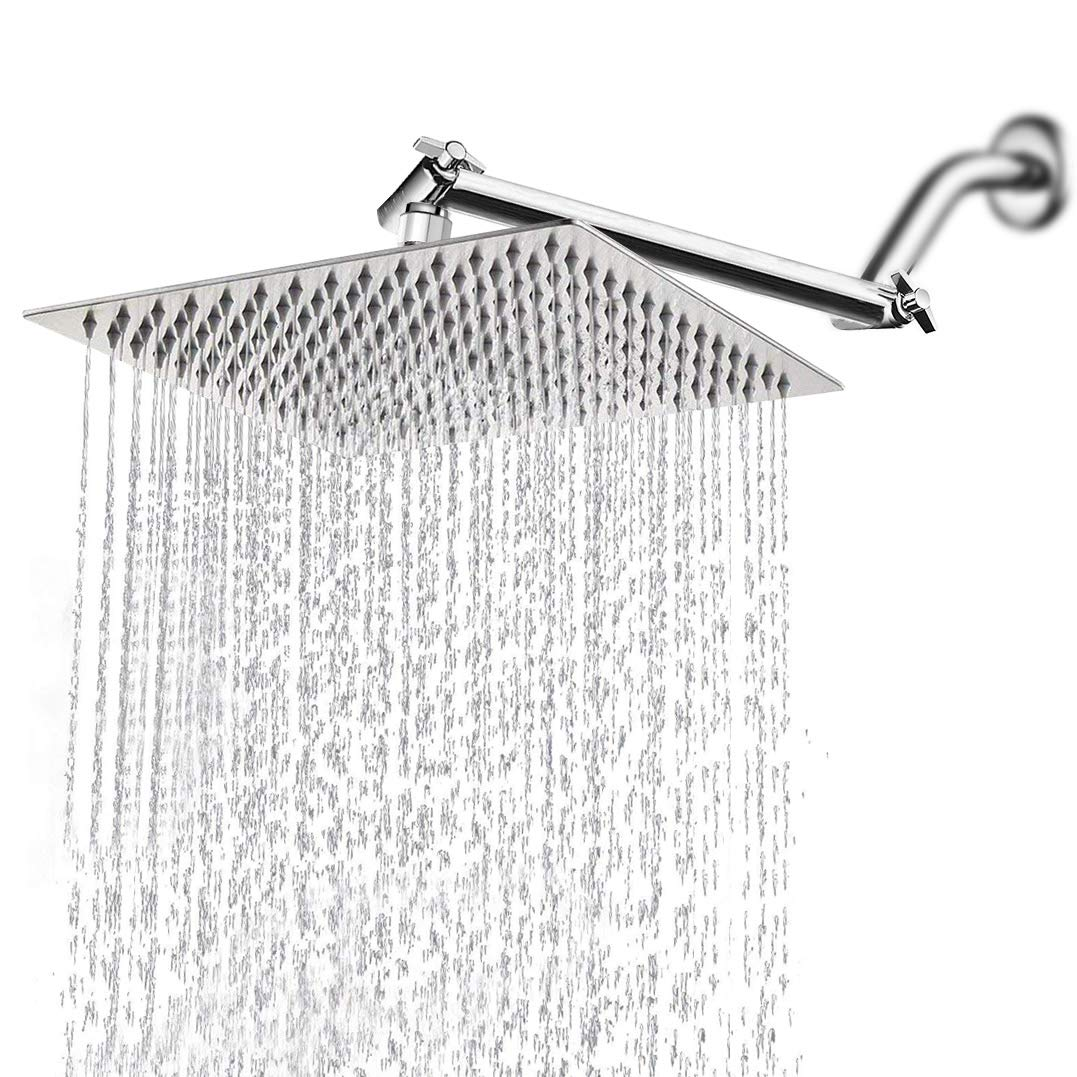 Rainfall Shower Head With Adjustable Extension Arm