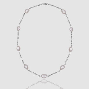 Étienne White Pearl Station Collar-Silver