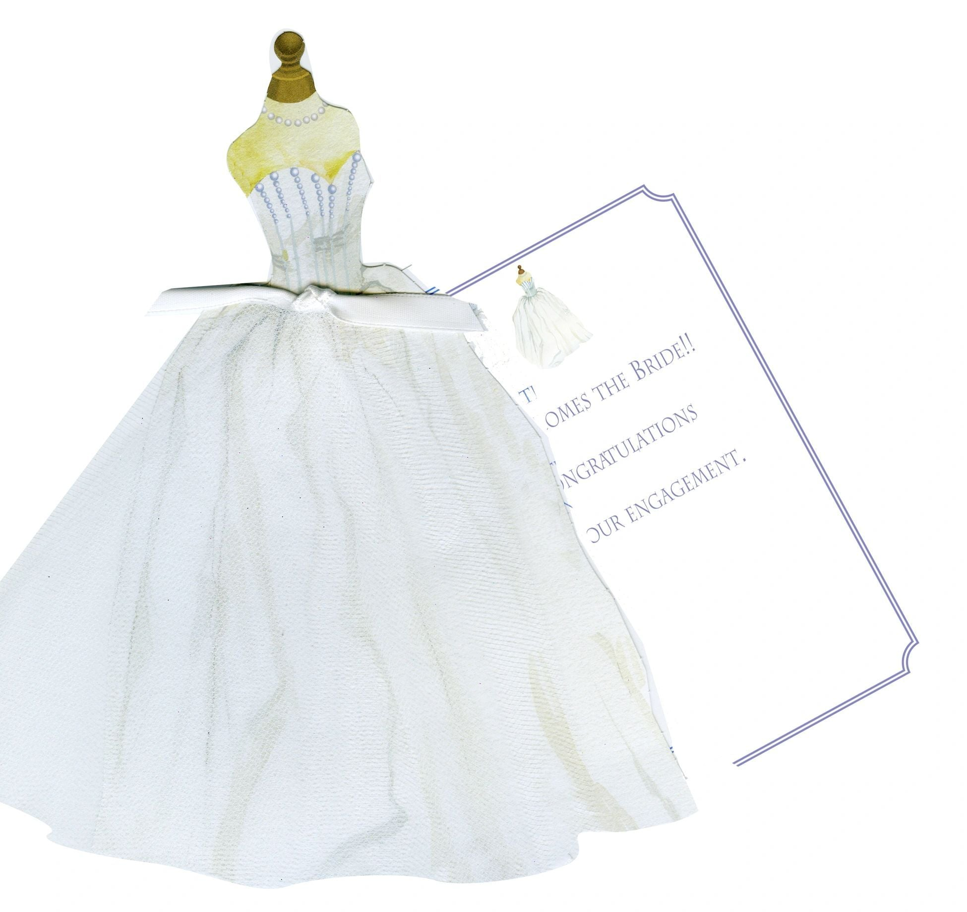 GAW1022W Bridal Gown with Pearls glitter Greeting Card