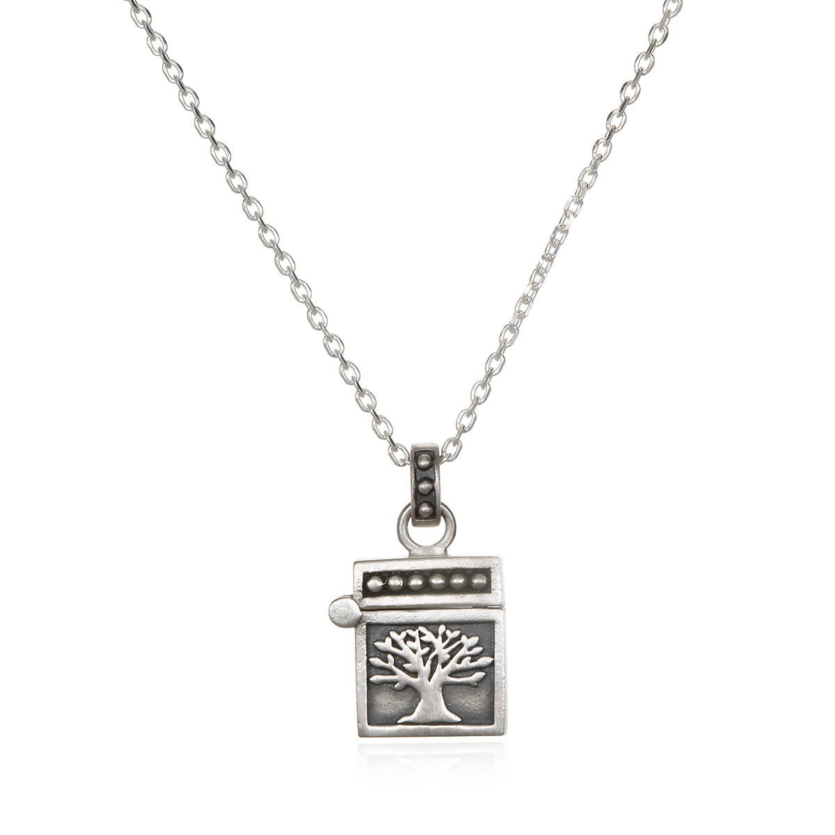 Silver Tree Prayer Box Necklace