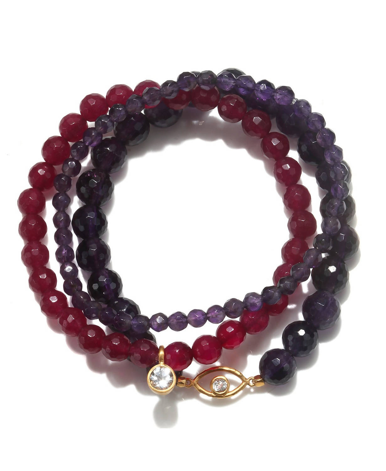 Amethyst & Fuchsia Agate Gold Evil Eye Stretch Bracelet Set