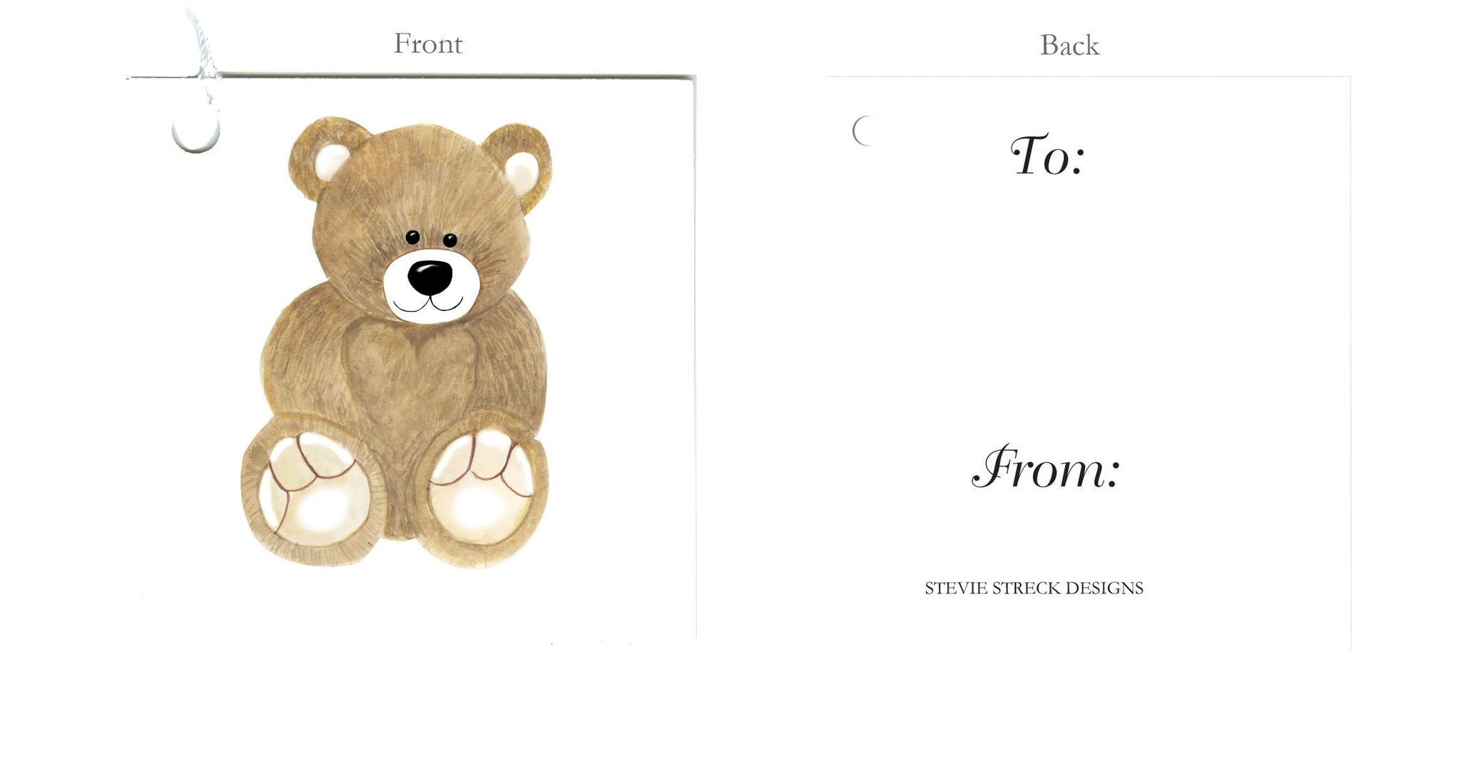 GTF102 Teddy Bear gift tags package of 6
