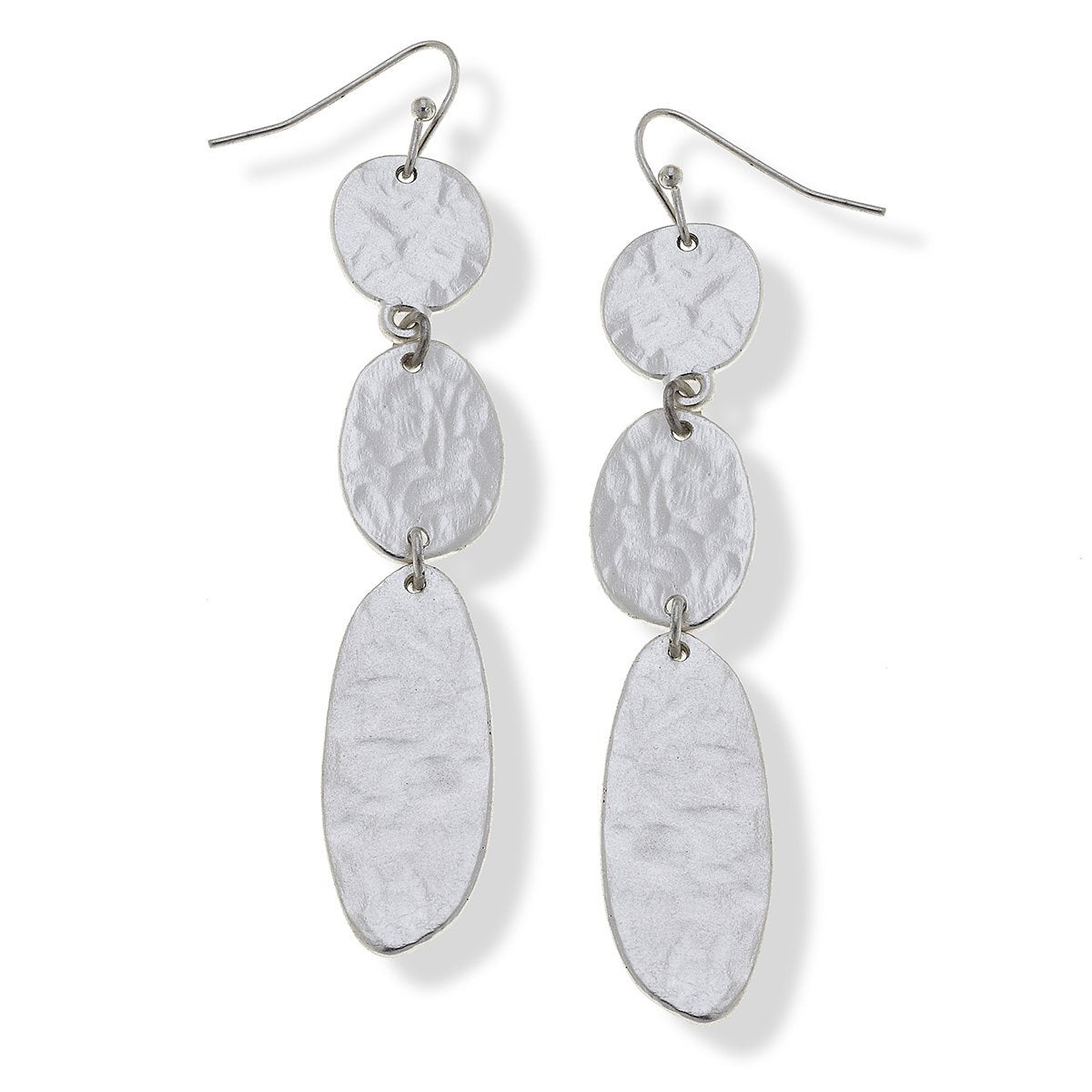 Harlow Linked Drop Earrings in Worn Silver