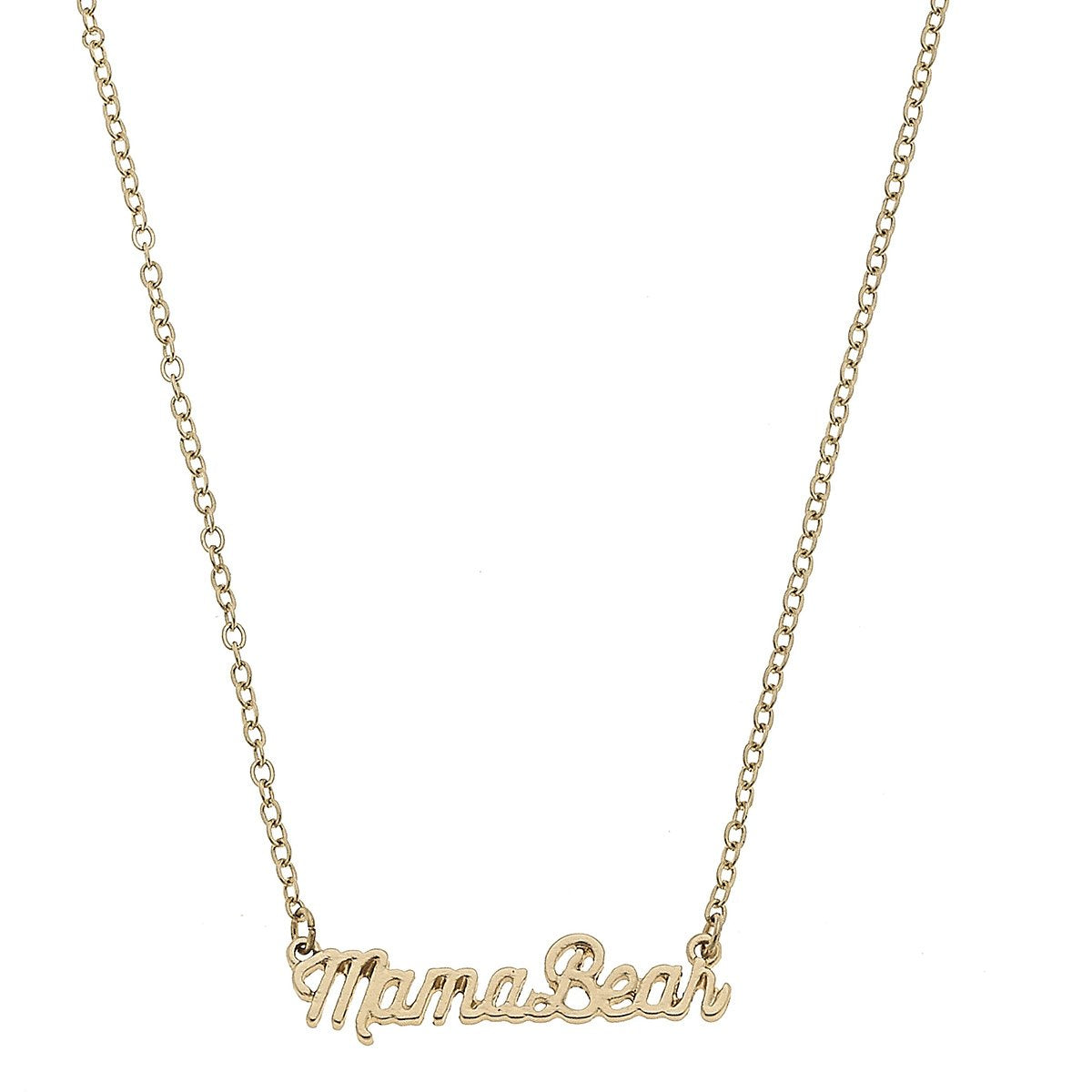 Mama Bear Script Necklace in Worn Gold