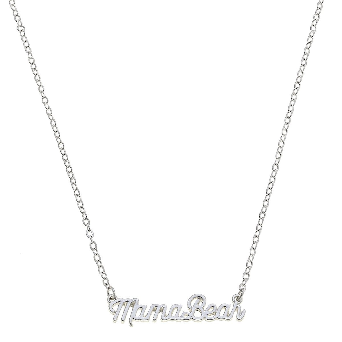 Mama Bear Script Necklace in Worn Silver