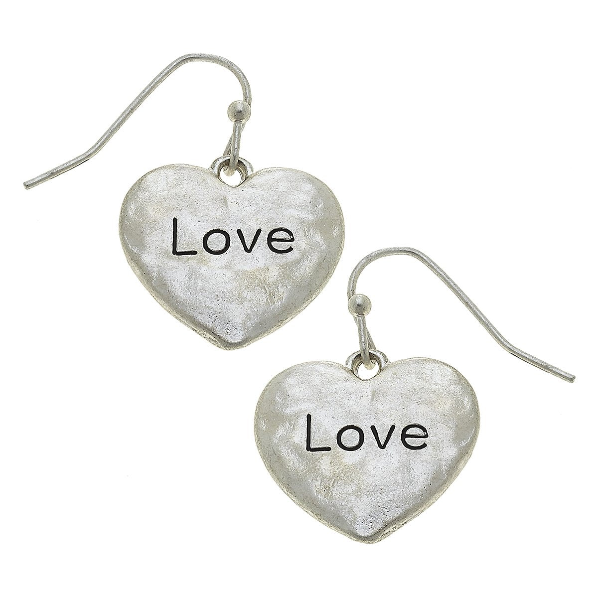 Heart Love Earrings in Worn Silver