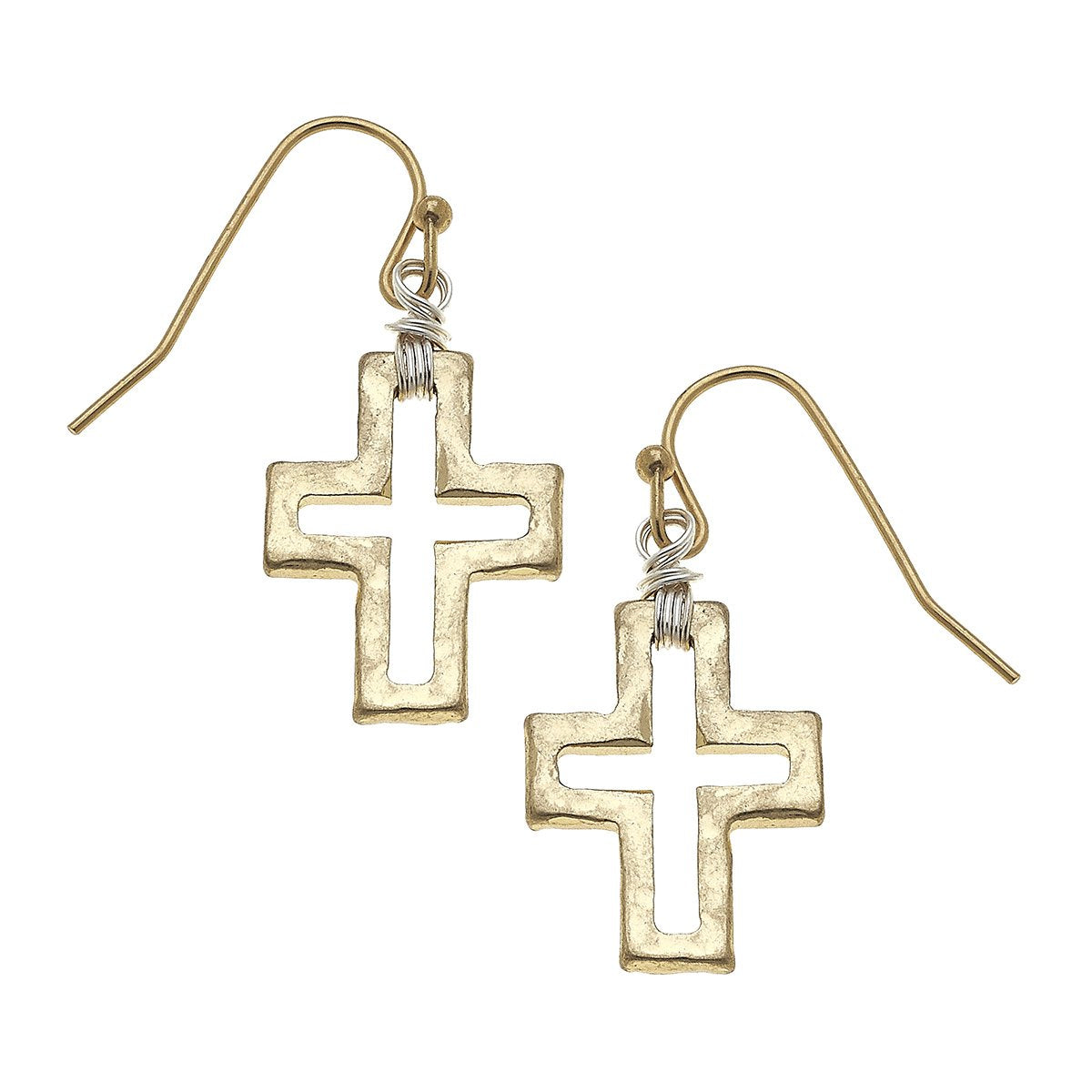 Wire-Wrapped Cross Earrings in Worn Gold