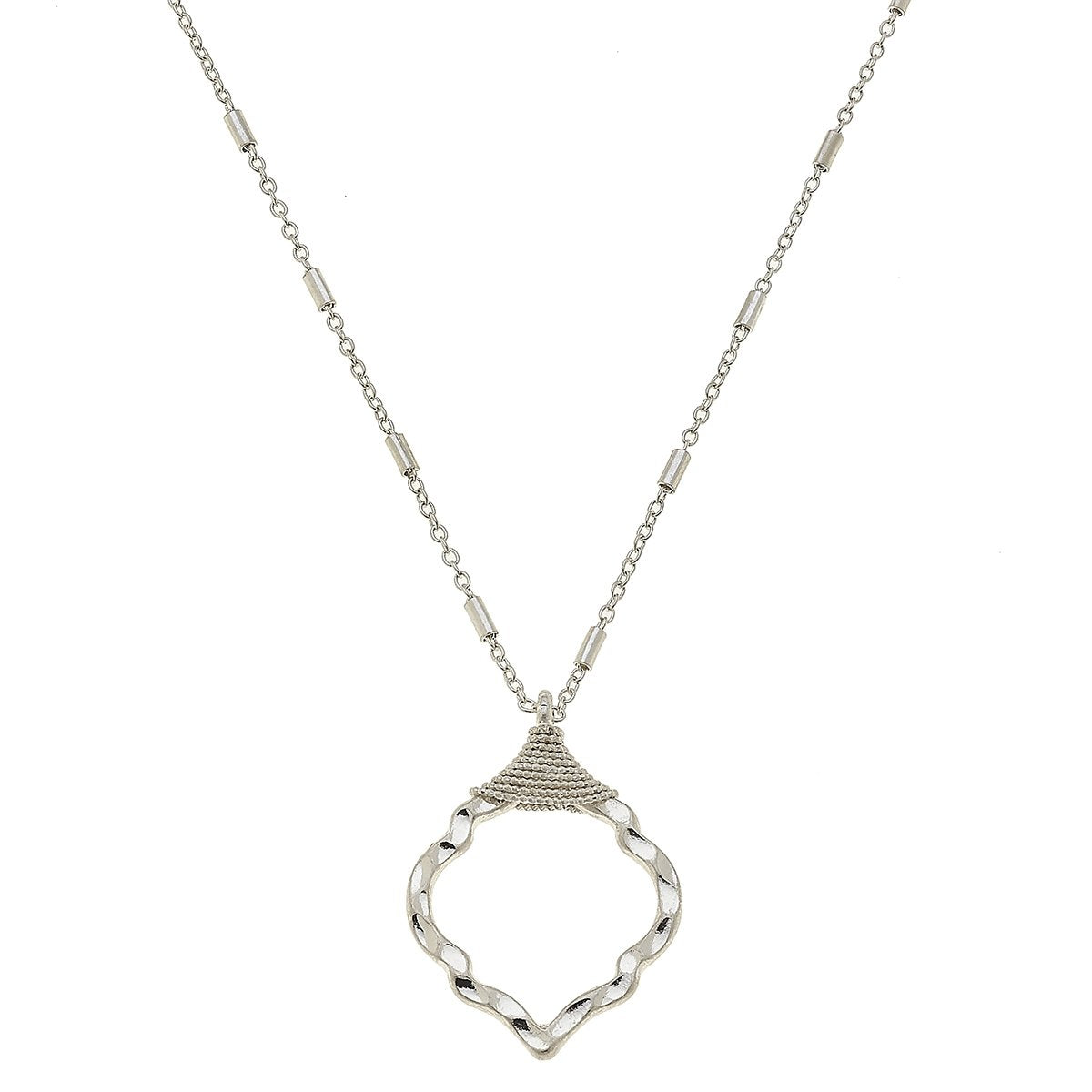 Chain-Wrapped Quatrefoil Necklace in Worn Silver