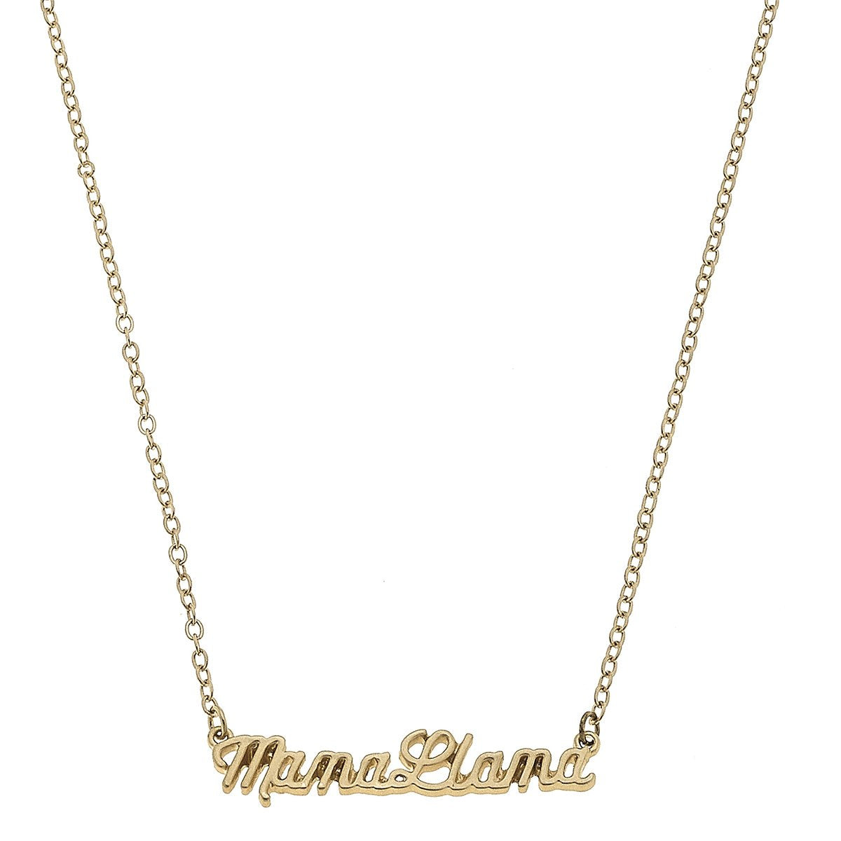 Mama Llama Script Necklace in Worn Gold