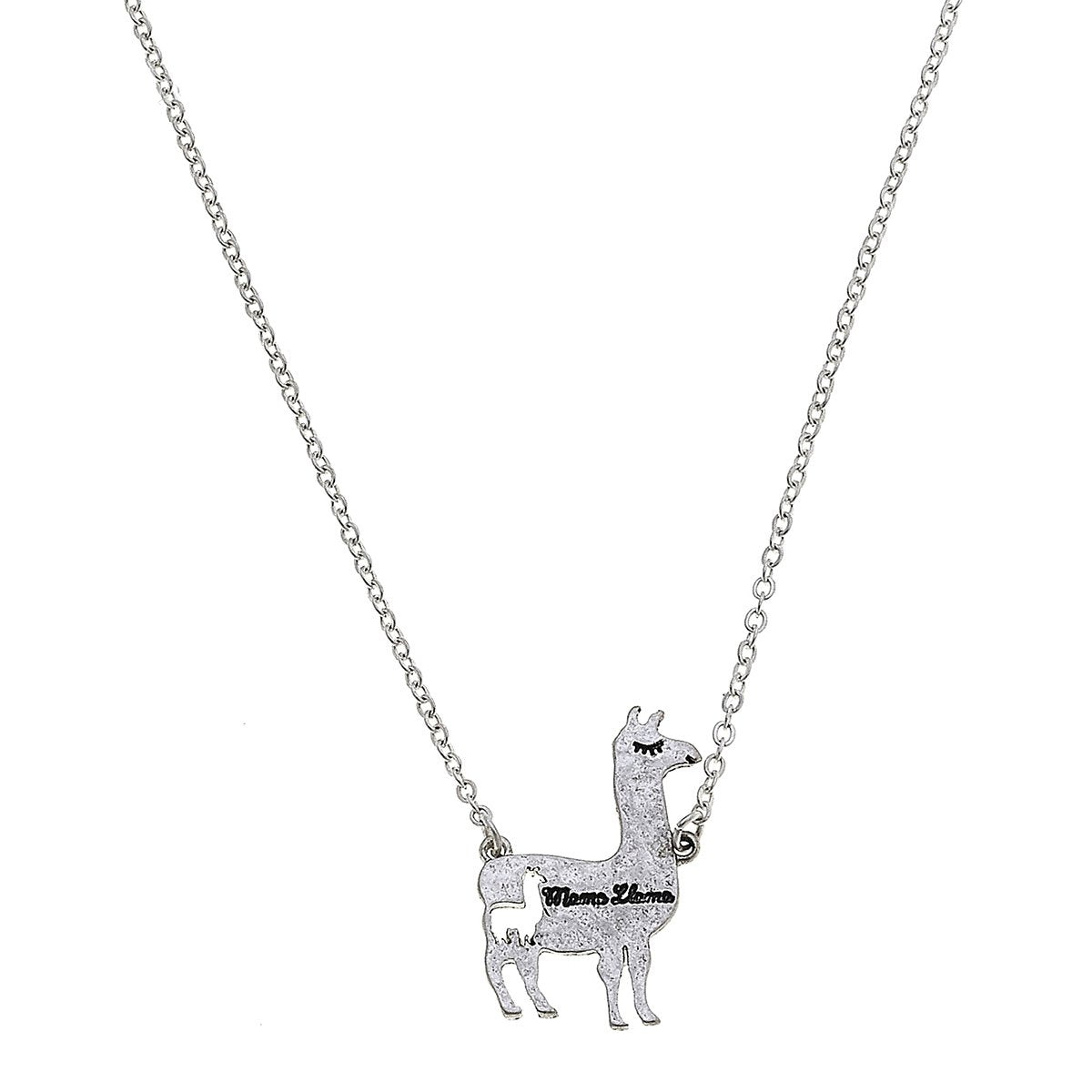 Mama Llama Necklace in Worn Silver