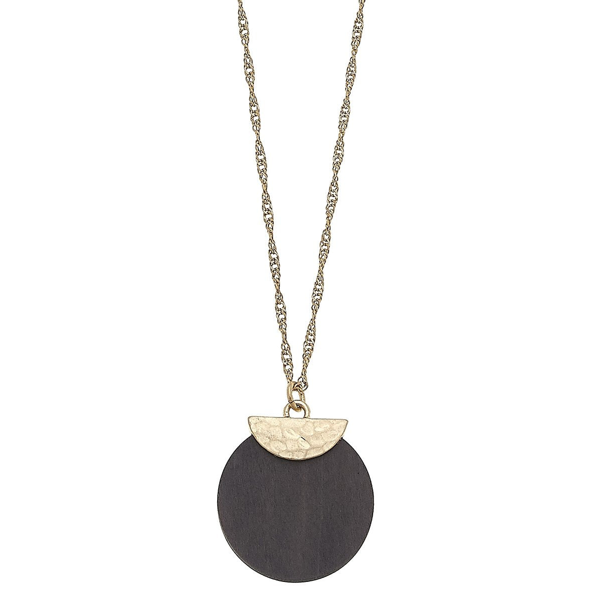 Wood Disc Pendant Necklace in Grey
