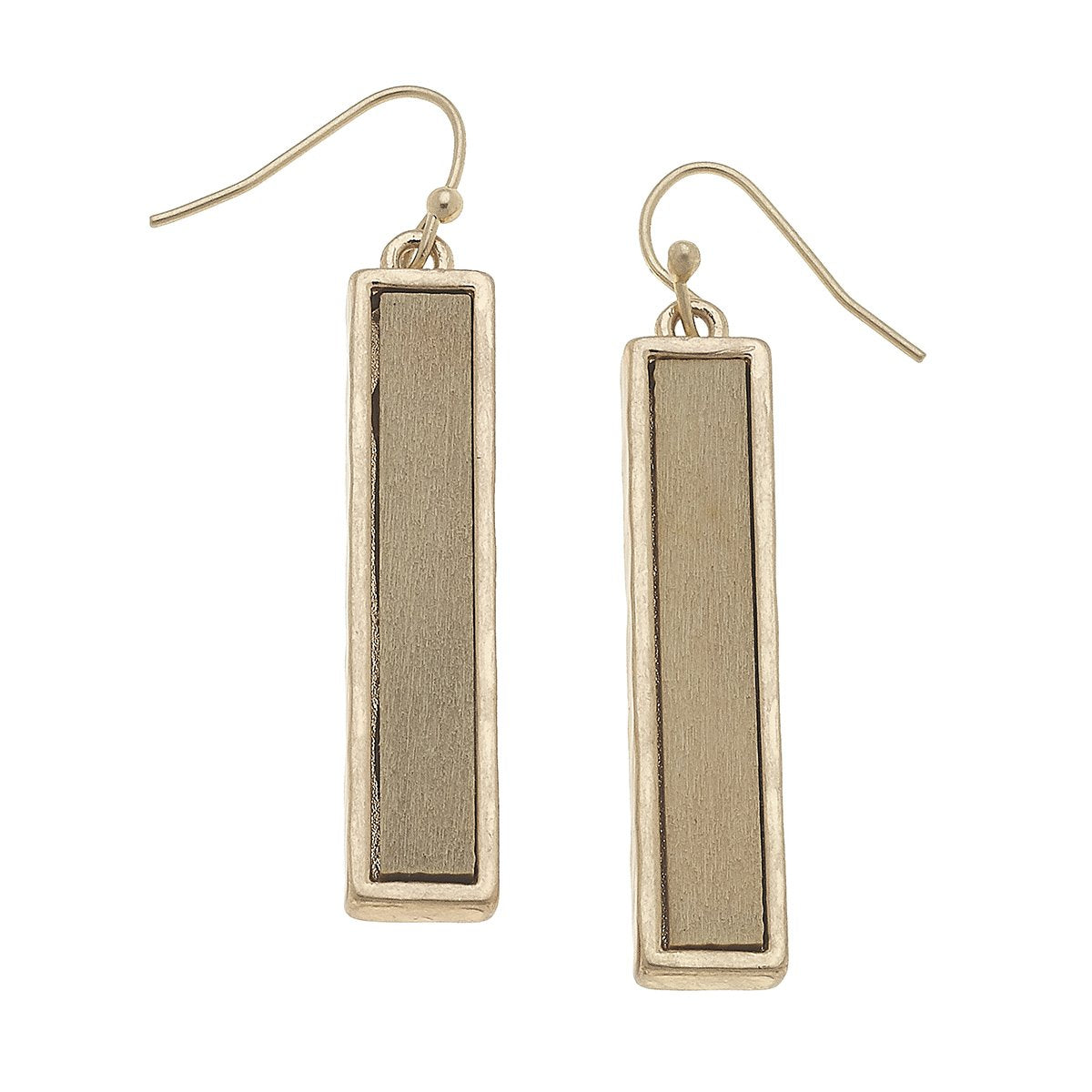 Wood Bar Earrings in Ivory