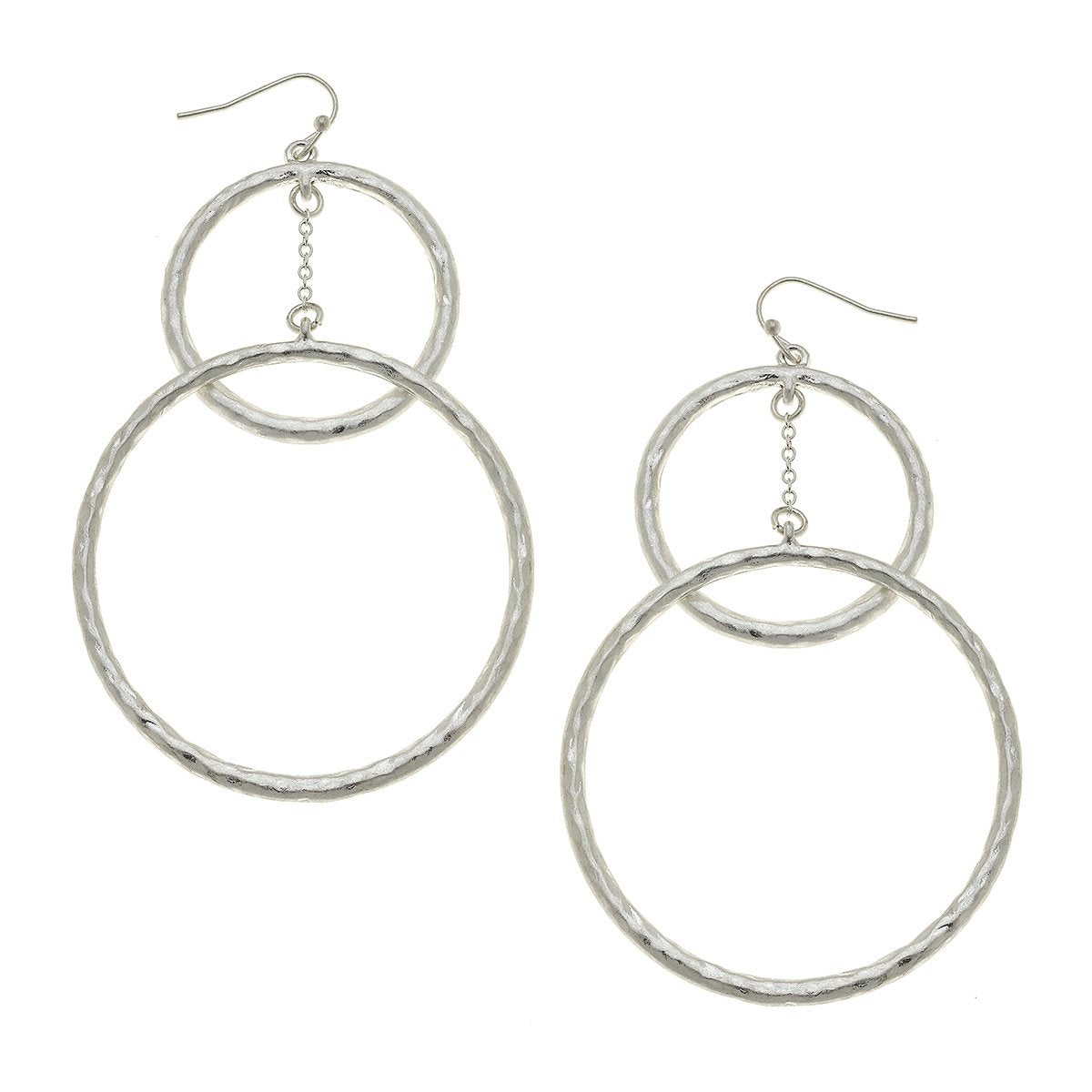 Double Drop Hoop Earrings in Worn Silver