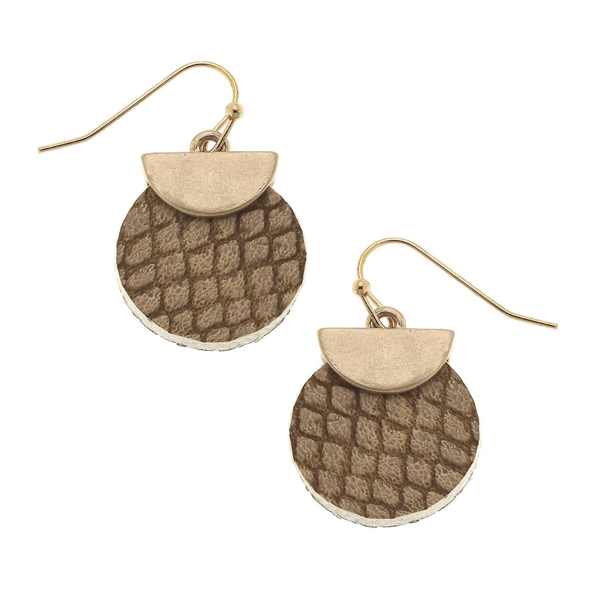 Python Embossed Mini Disc Earrings in Brown