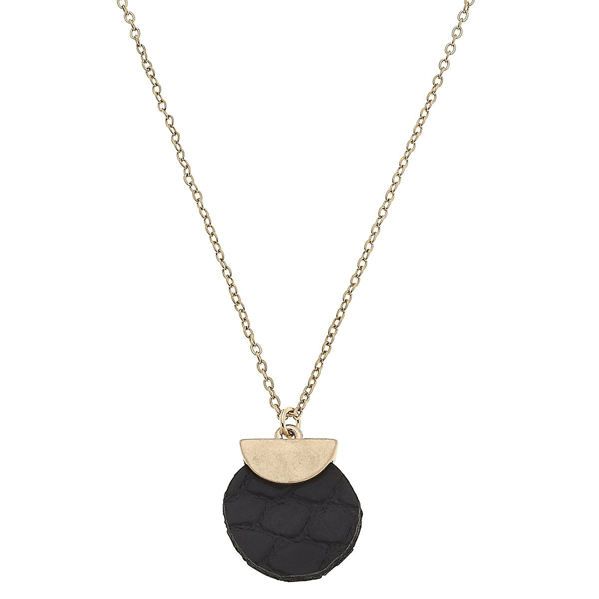 Python Embossed Mini Disc Necklace in Black