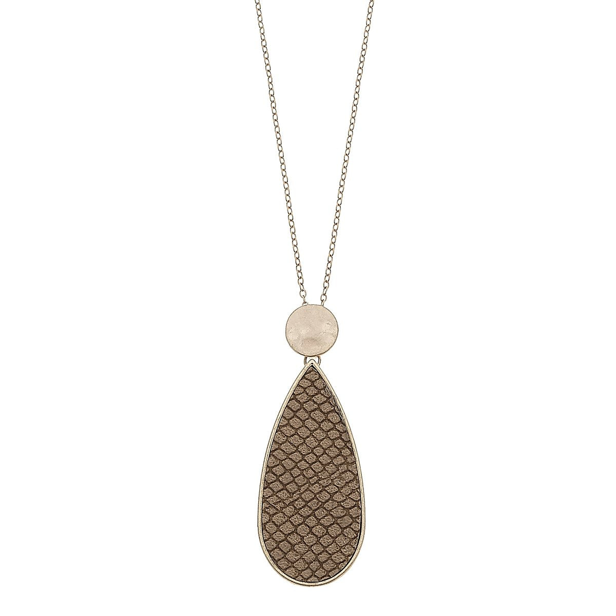 Python Embossed Teardrop Pendant Necklace in Brown
