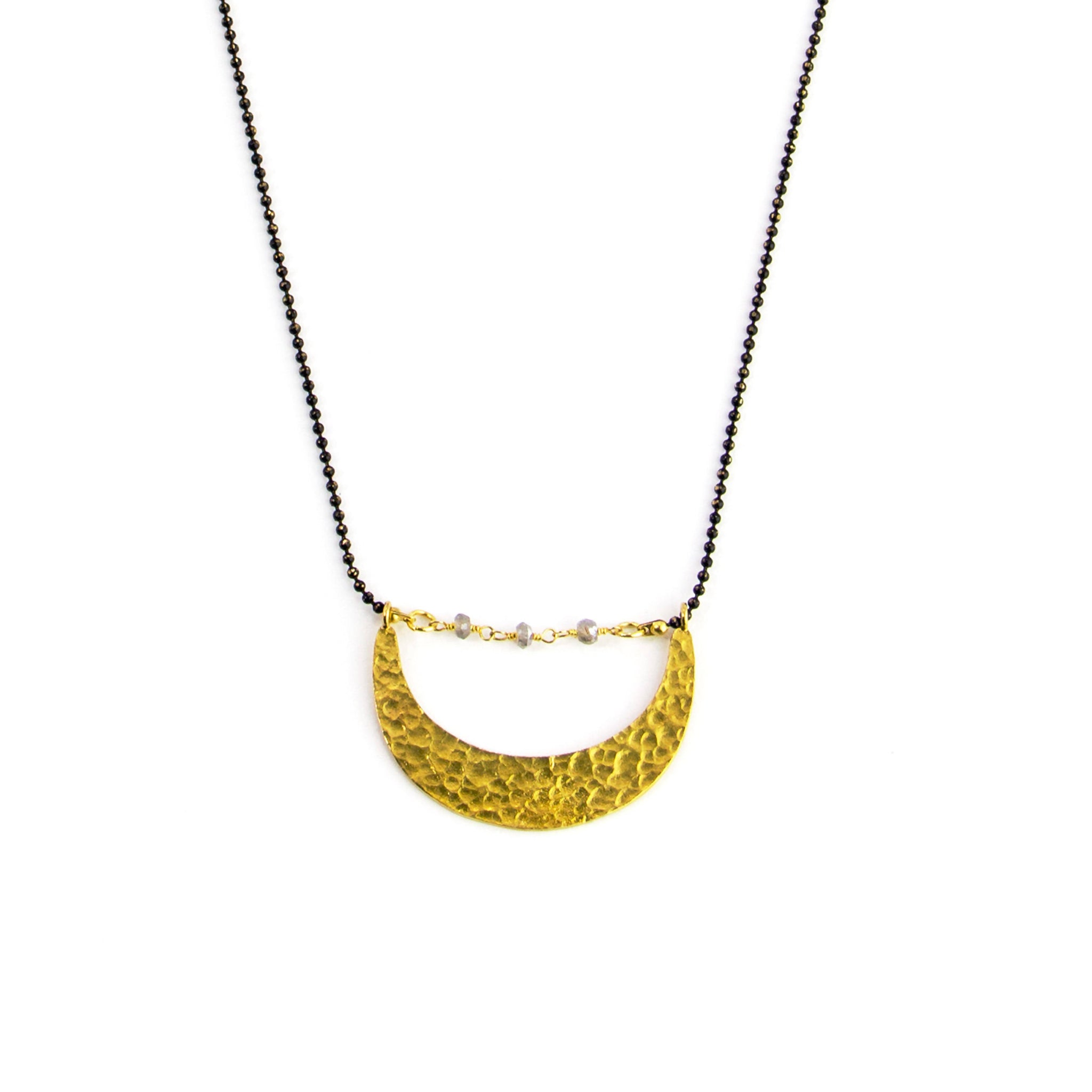Long Hammered Crescent Necklace