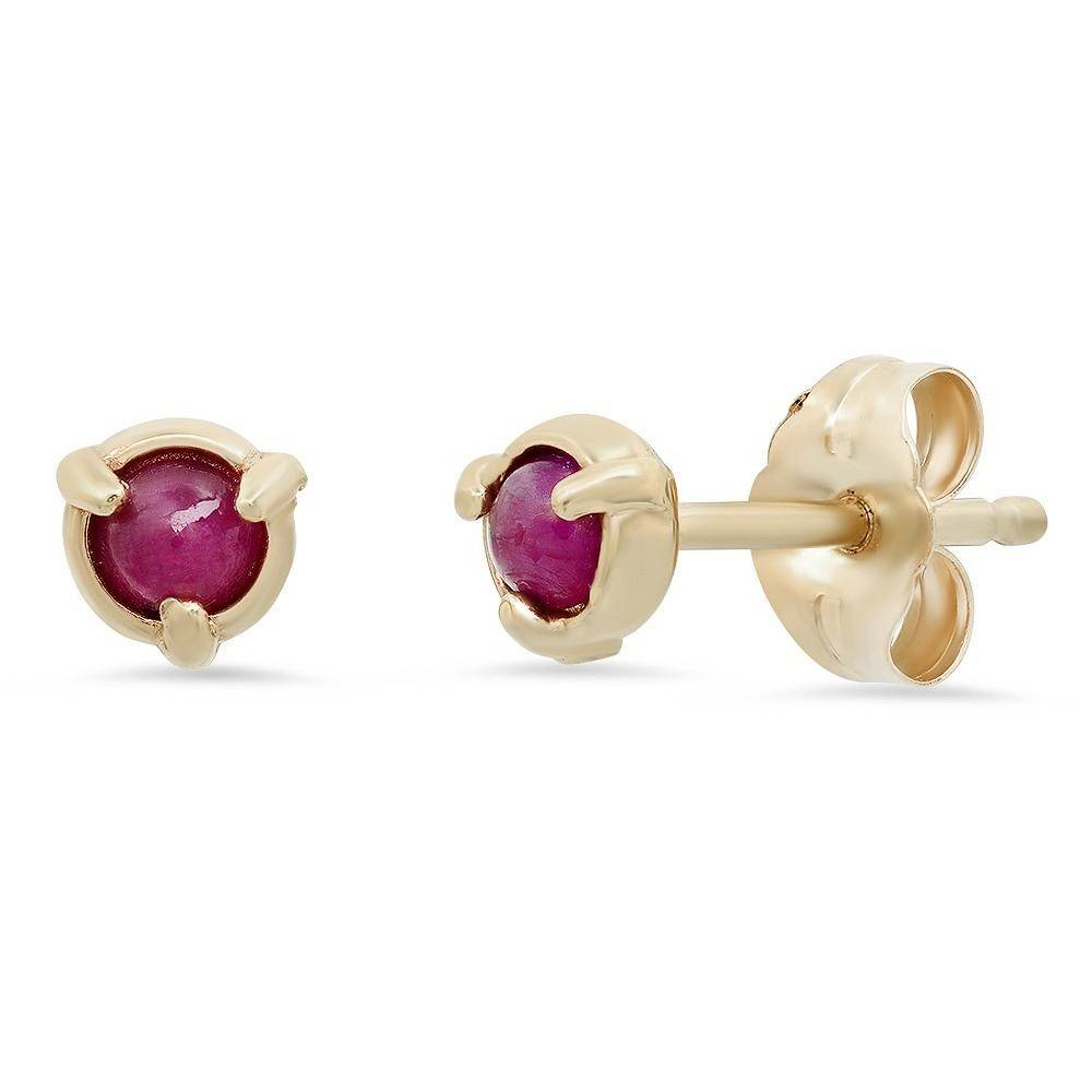 """Claw"" 14K Gold 3 Pronged Stud Earrings with Natural Rose Cut Diamonds, Gemstones or Pearls"