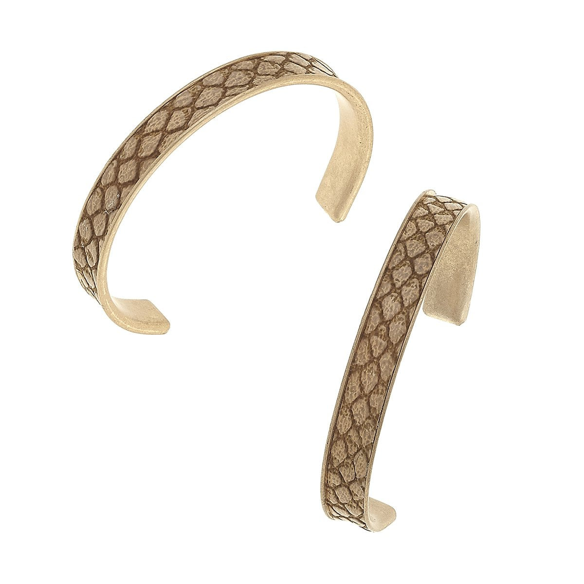 Python Embossed Hoop Earrings in Brown