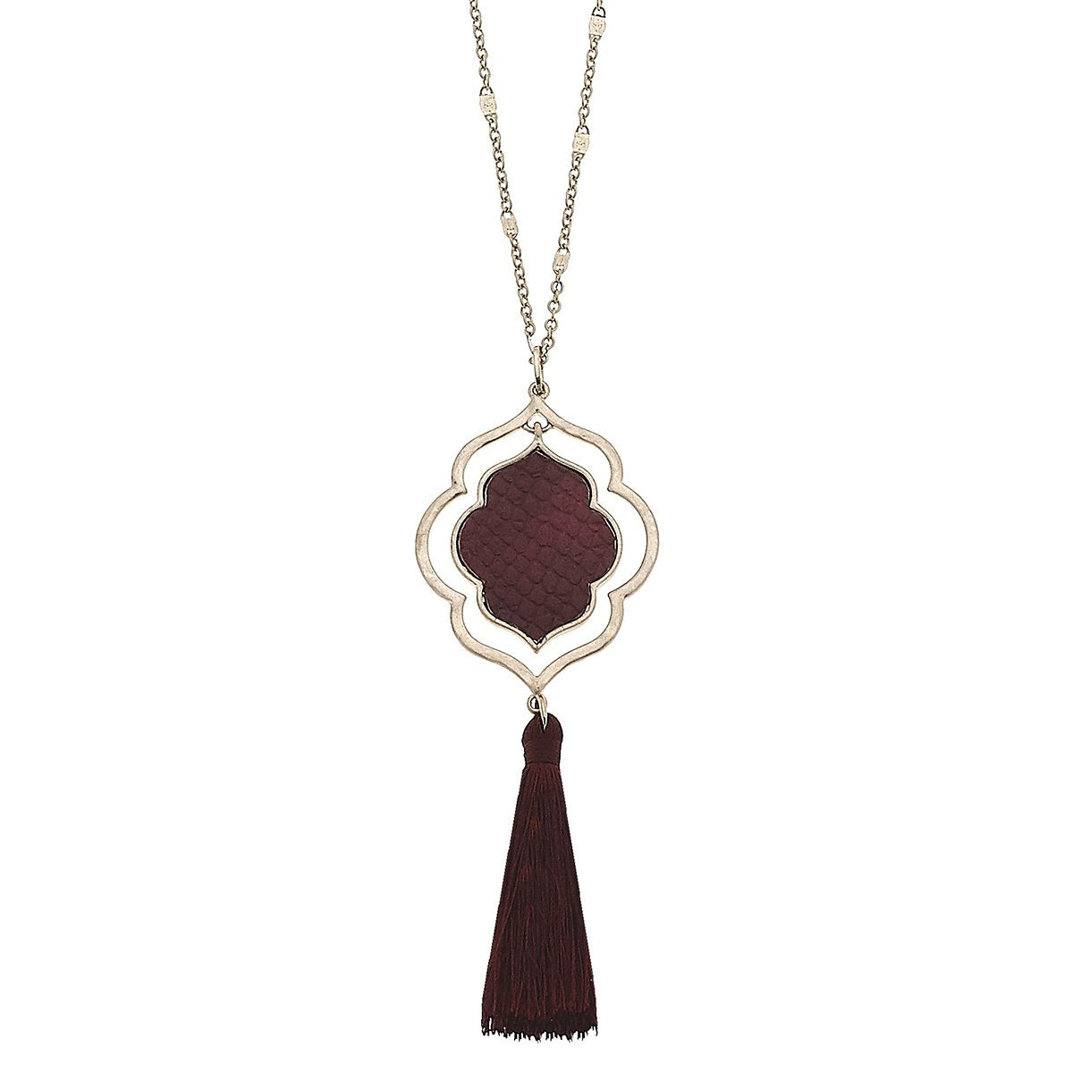 Python Embossed Quatrefoil Tassel Necklace in Burgundy