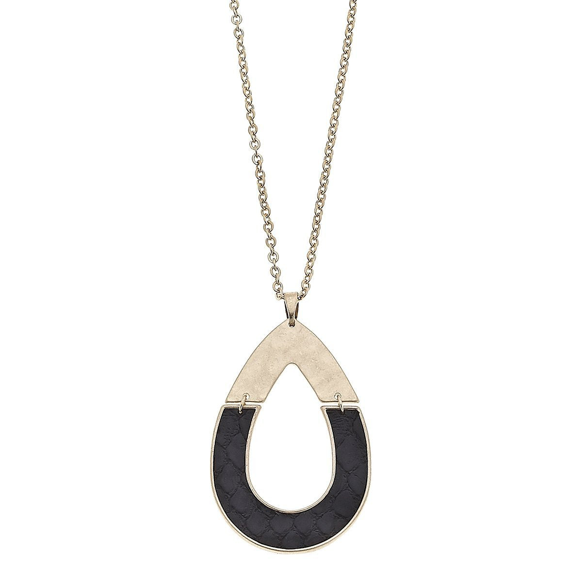 Harlow Pendant Necklace in Black Leather