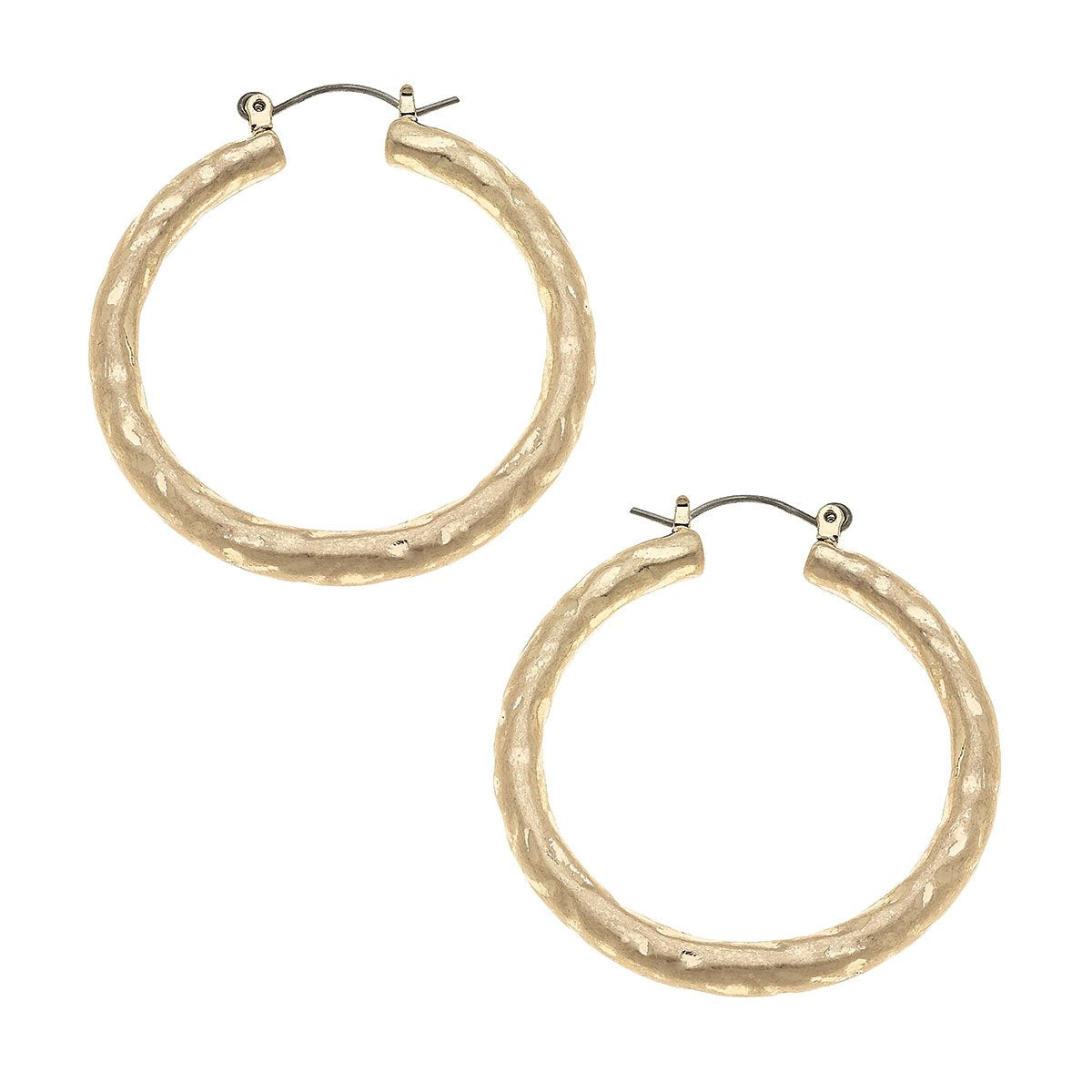 Hammered Hoop Earrings in Worn Gold
