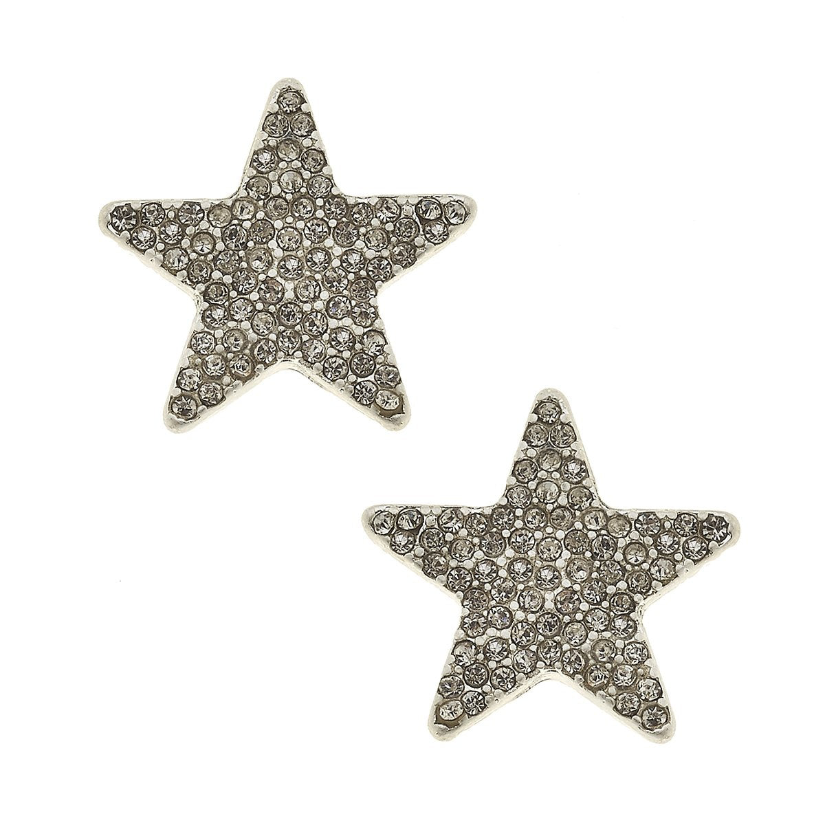 Star Pave Stud Earrings in Worn Silver