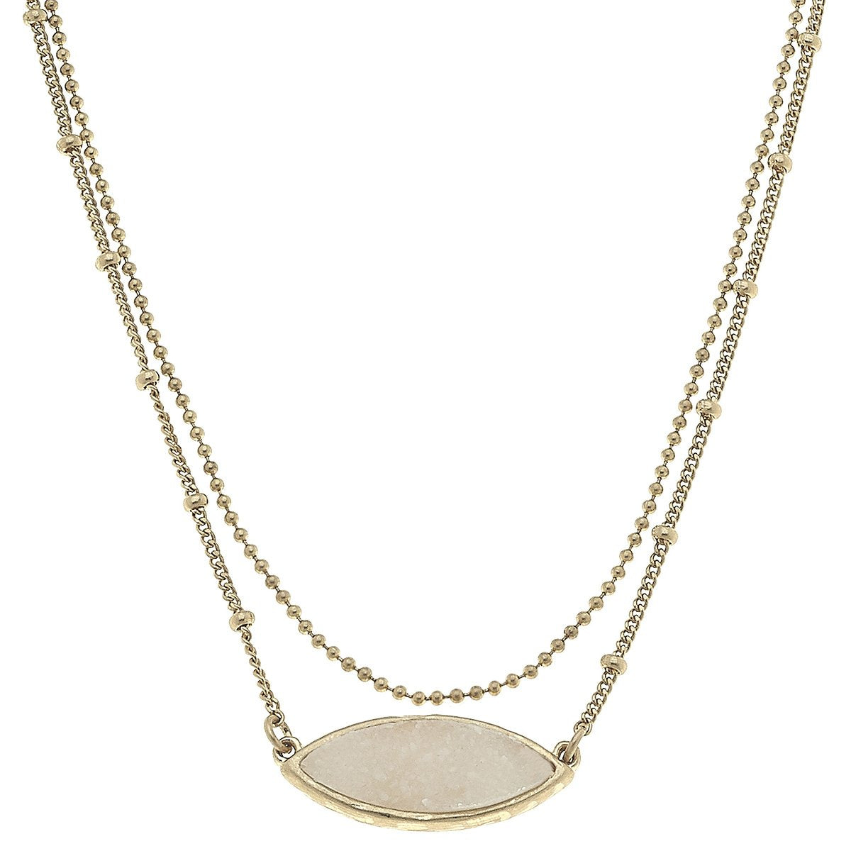 Layered Marquis Druzy Necklace in Ivory
