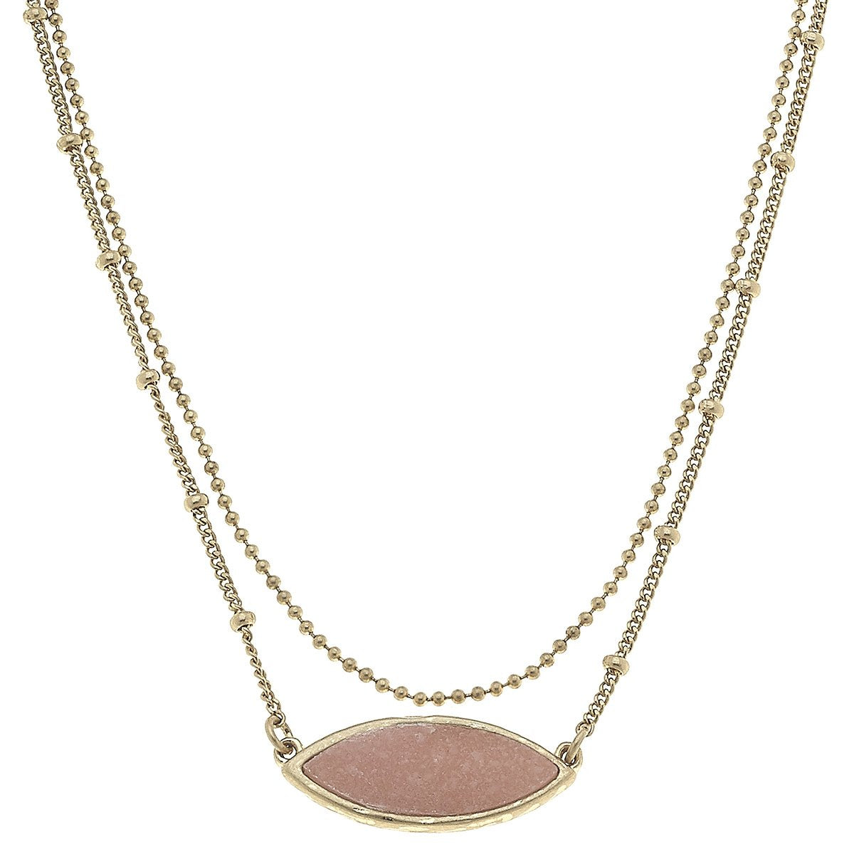 Layered Marquis Druzy Necklace in Pink