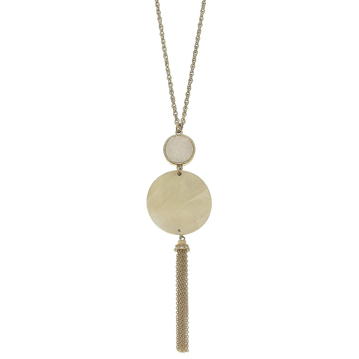 Druzy Wood Tassel Necklace in Ivory