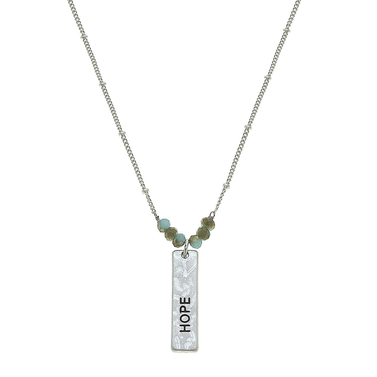 Reversible Hope Bar Necklace in Worn Silver