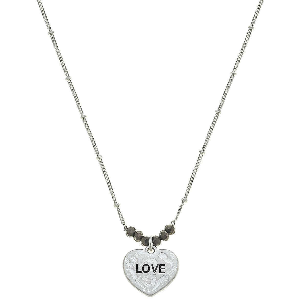Love Heart Necklace in Worn Silver