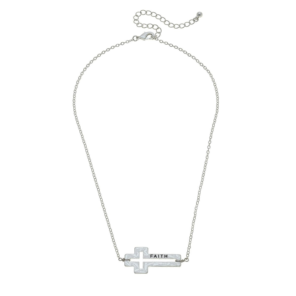 Faith Sideways Cross Necklace in Worn Silver