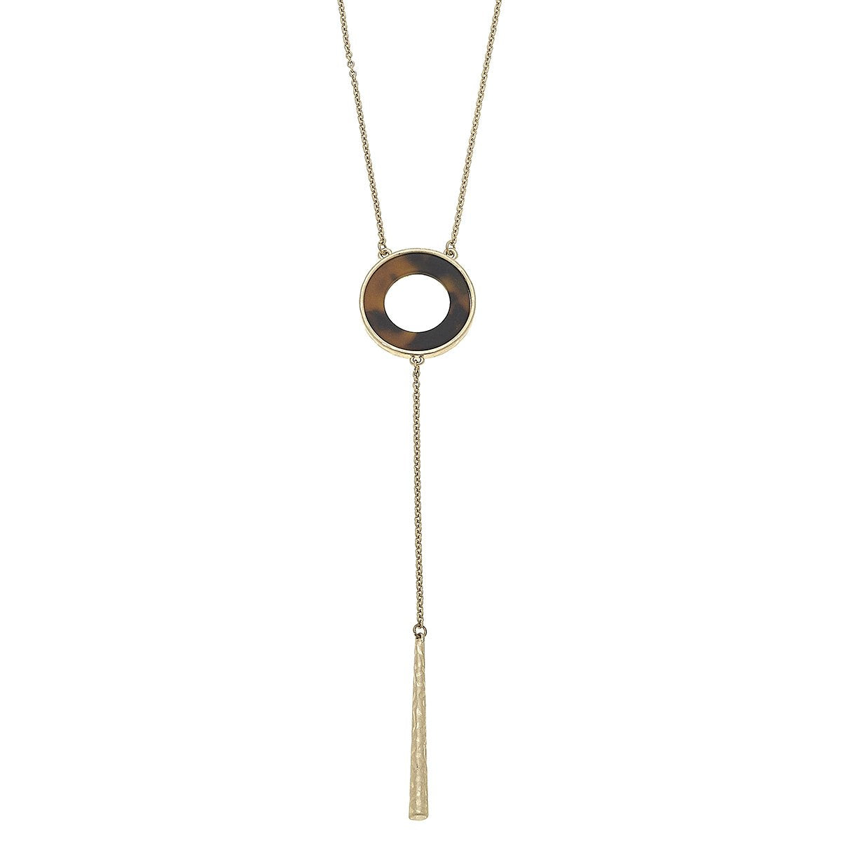 Open Disc Y Necklace in Brown