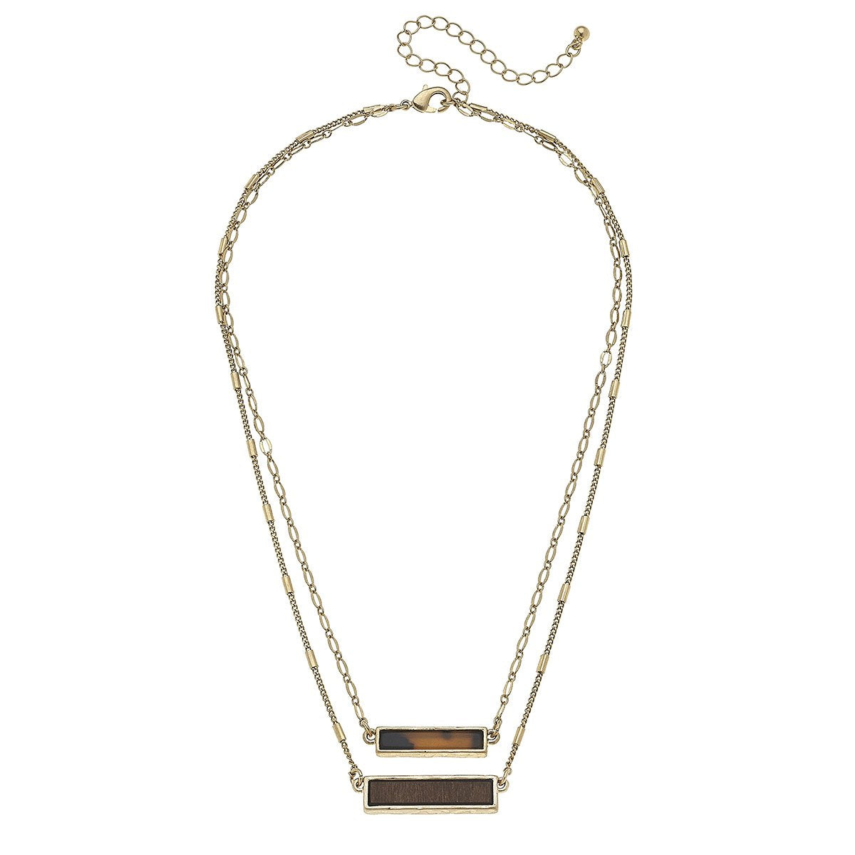 Layered Double Bar Necklace in Tortoise in Brown